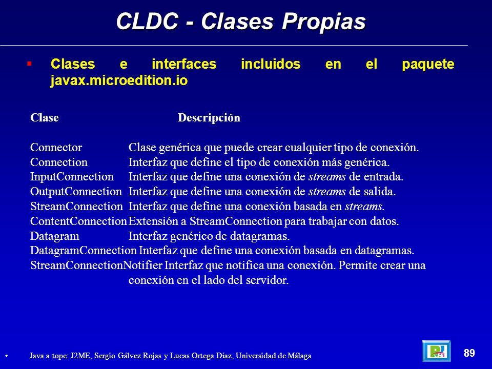 CLDC - Clases Propias Clases e interfaces incluidos en el paquete javax.microedition.io. Clase Descripción.
