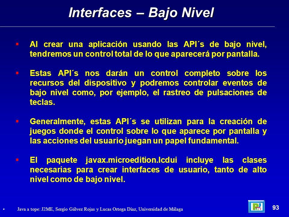 Interfaces – Bajo Nivel
