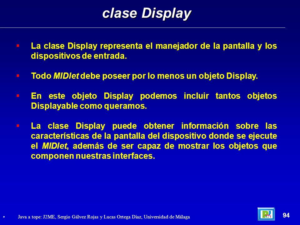 clase DisplayLa clase Display representa el manejador de la pantalla y los dispositivos de entrada.