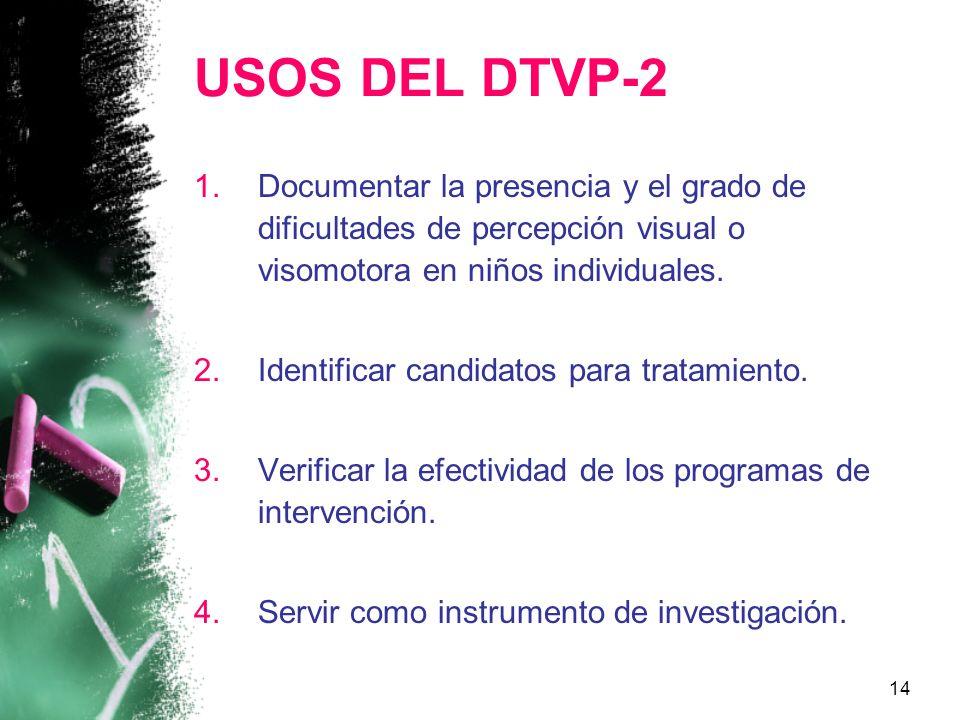 USOS DEL DTVP-2 Documentar la presencia y el grado de dificultades de percepción visual o visomotora en niños individuales.