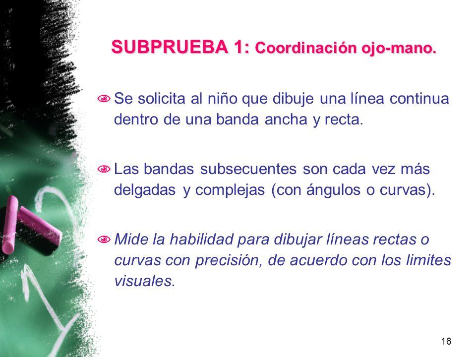 SUBPRUEBA 1: Coordinación ojo-mano.