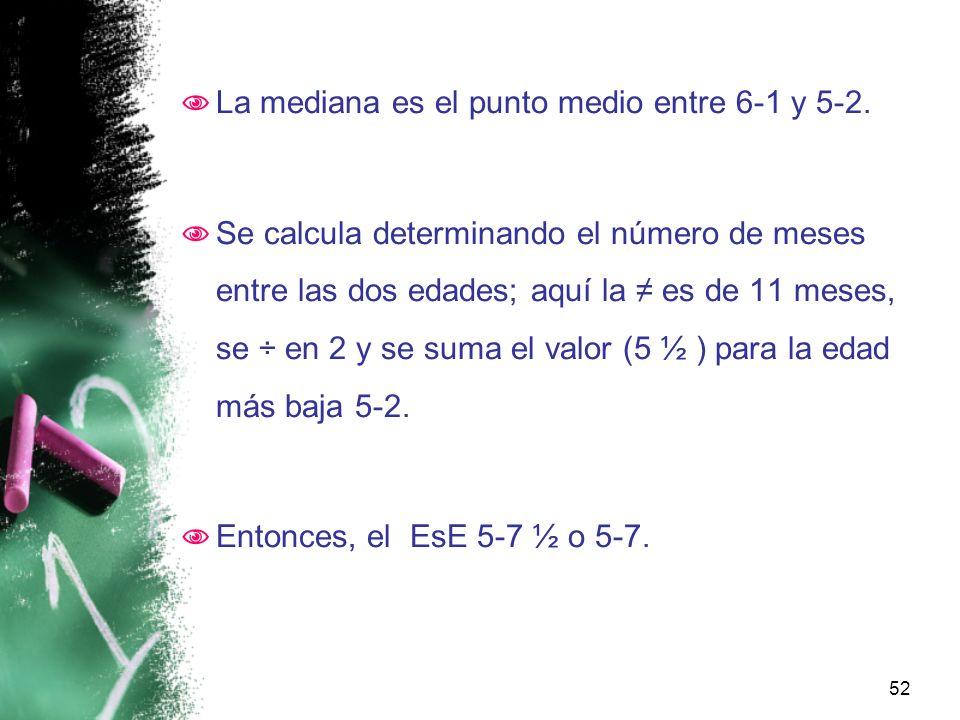 La mediana es el punto medio entre 6-1 y 5-2.