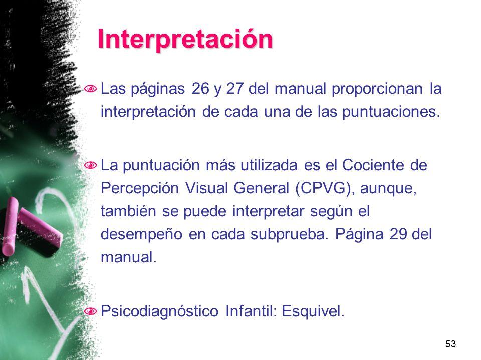 Interpretación Las páginas 26 y 27 del manual proporcionan la interpretación de cada una de las puntuaciones.