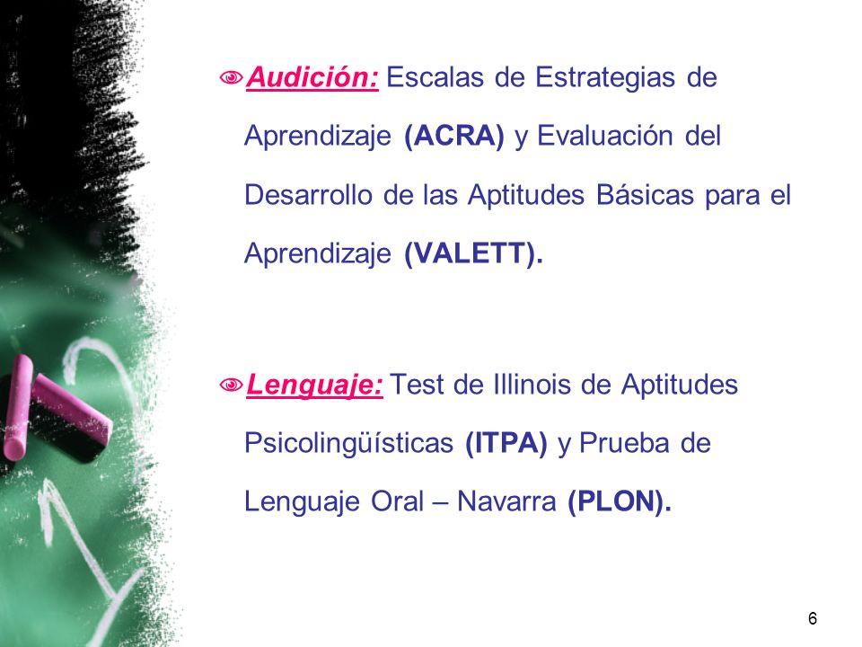 Audición: Escalas de Estrategias de Aprendizaje (ACRA) y Evaluación del Desarrollo de las Aptitudes Básicas para el Aprendizaje (VALETT).