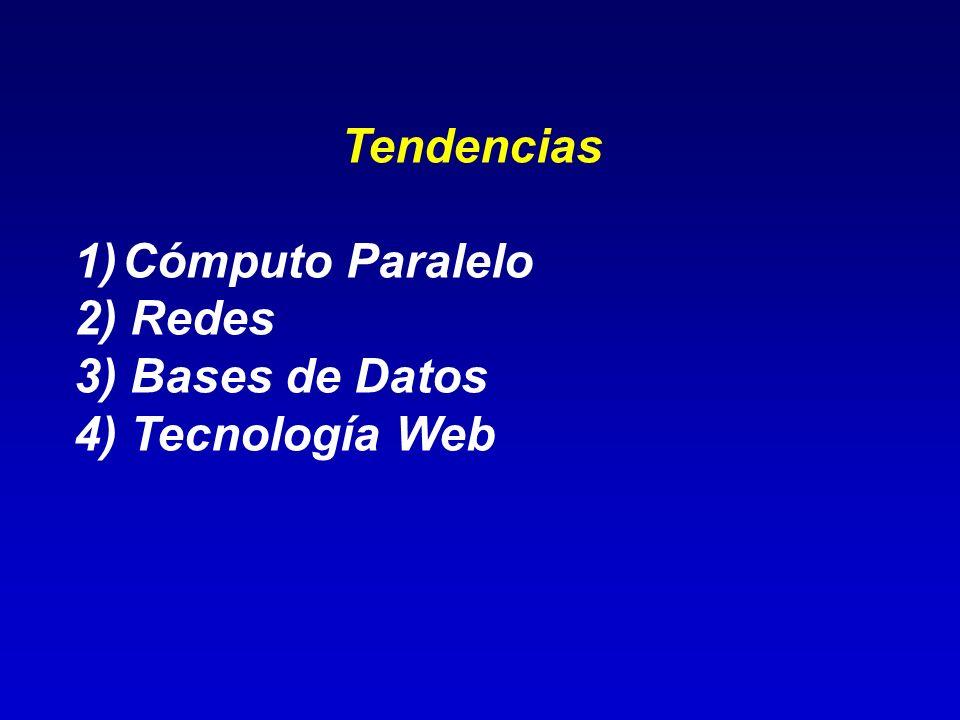 Tendencias Cómputo Paralelo 2) Redes 3) Bases de Datos 4) Tecnología Web