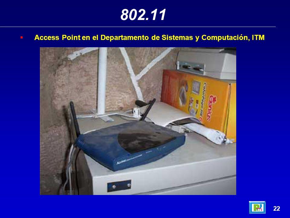 802.11 Access Point en el Departamento de Sistemas y Computación, ITM