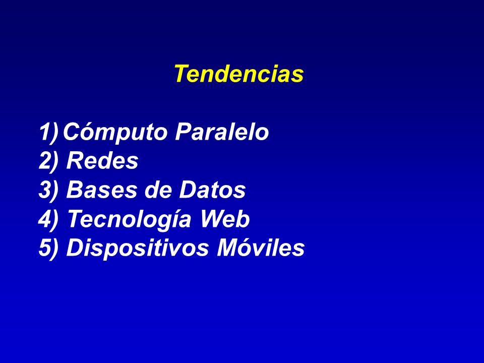 Tendencias Cómputo Paralelo 2) Redes 3) Bases de Datos 4) Tecnología Web 5) Dispositivos Móviles