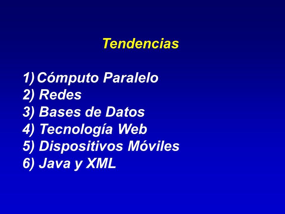 Tendencias Cómputo Paralelo. 2) Redes. 3) Bases de Datos. 4) Tecnología Web. 5) Dispositivos Móviles.