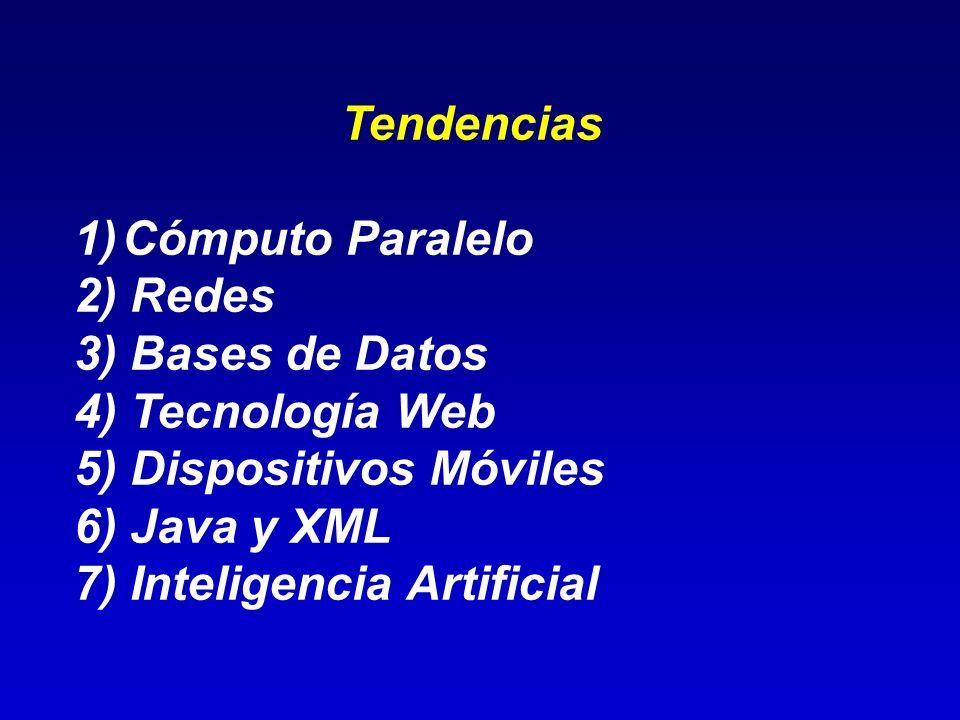 TendenciasCómputo Paralelo. 2) Redes. 3) Bases de Datos. 4) Tecnología Web. 5) Dispositivos Móviles.
