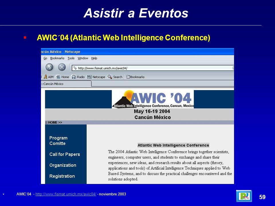 Asistir a Eventos AWIC´04 (Atlantic Web Intelligence Conference) 59