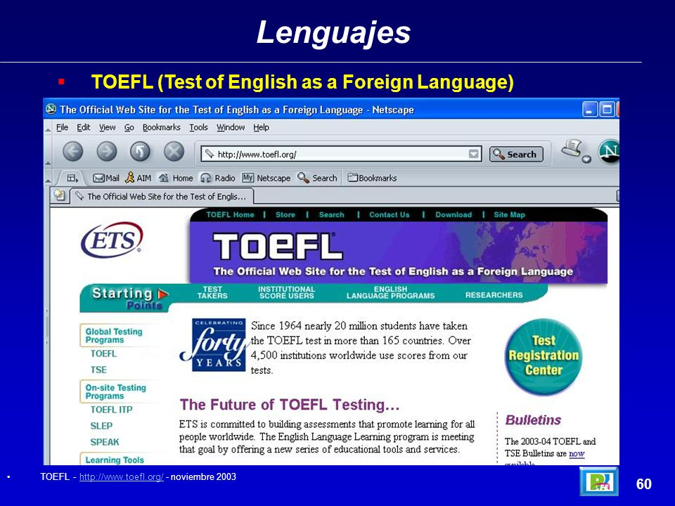 Lenguajes TOEFL (Test of English as a Foreign Language) 60
