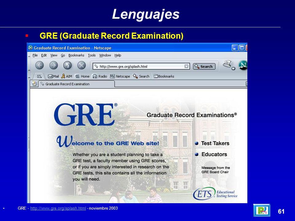 Lenguajes GRE (Graduate Record Examination) 61