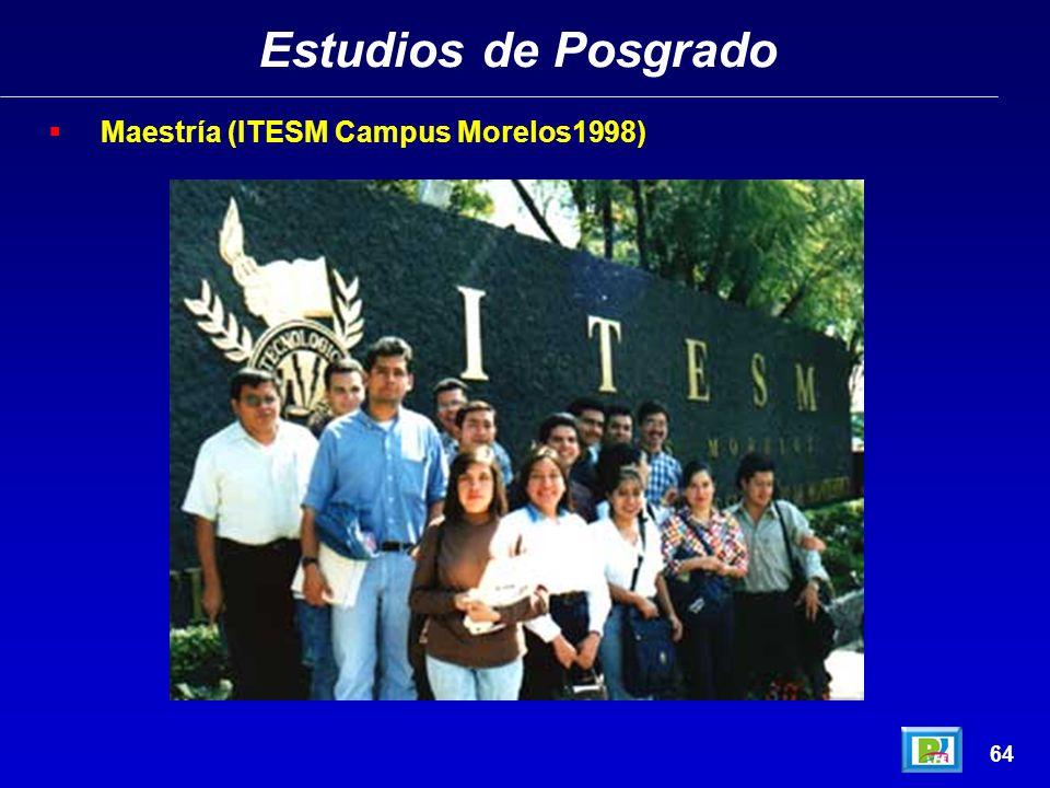 Estudios de Posgrado Maestría (ITESM Campus Morelos1998) 64