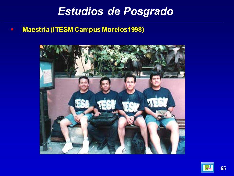 Estudios de Posgrado Maestría (ITESM Campus Morelos1998) 65