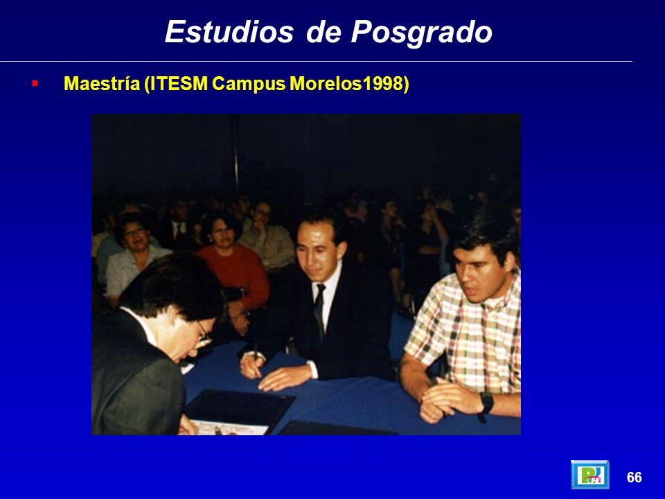 Estudios de Posgrado Maestría (ITESM Campus Morelos1998) 66