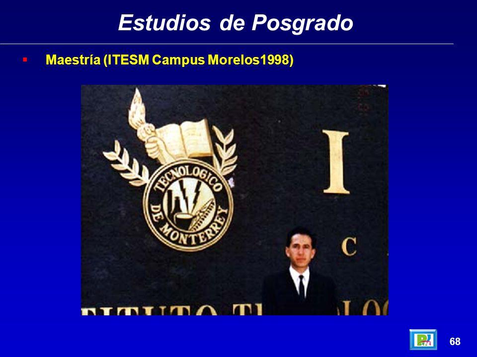 Estudios de Posgrado Maestría (ITESM Campus Morelos1998) 68