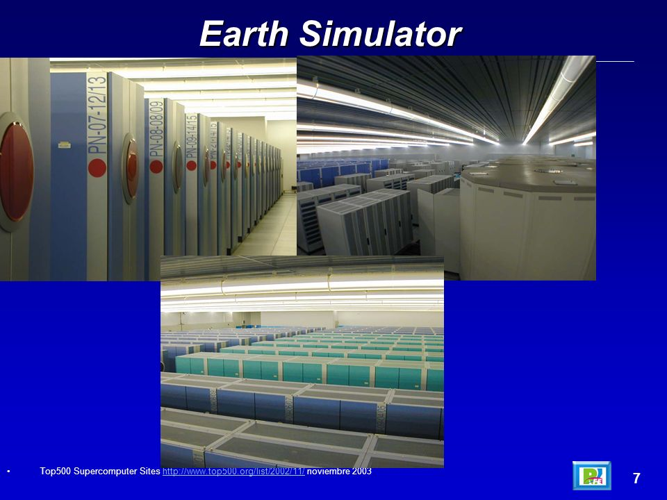 Earth Simulator Top500 Supercomputer Sites http://www.top500.org/list/2002/11/ noviembre 2003 7