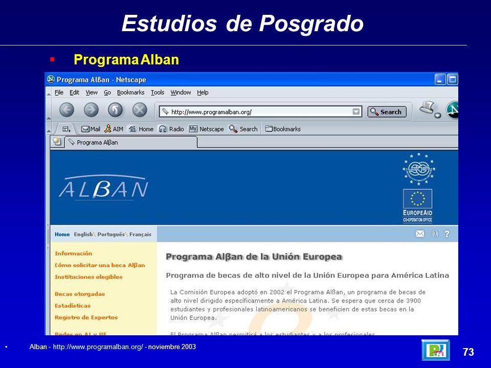 Estudios de Posgrado Programa Alban 73