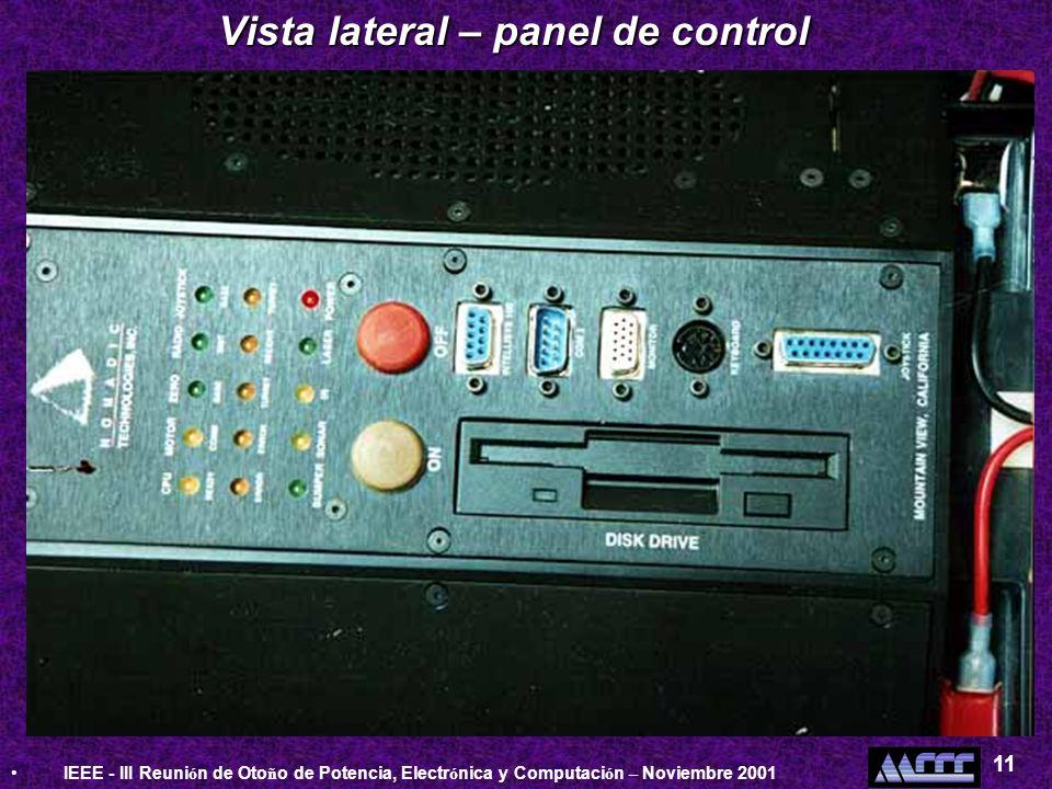 Vista lateral – panel de control