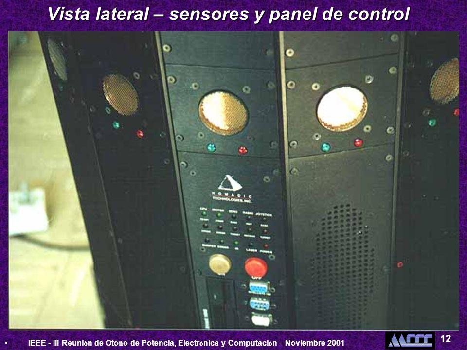 Vista lateral – sensores y panel de control