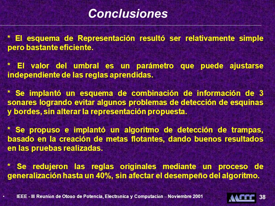 ConclusionesIEEE - III Reunión de Otoño de Potencia, Electrónica y Computación – Noviembre 2001. 38.