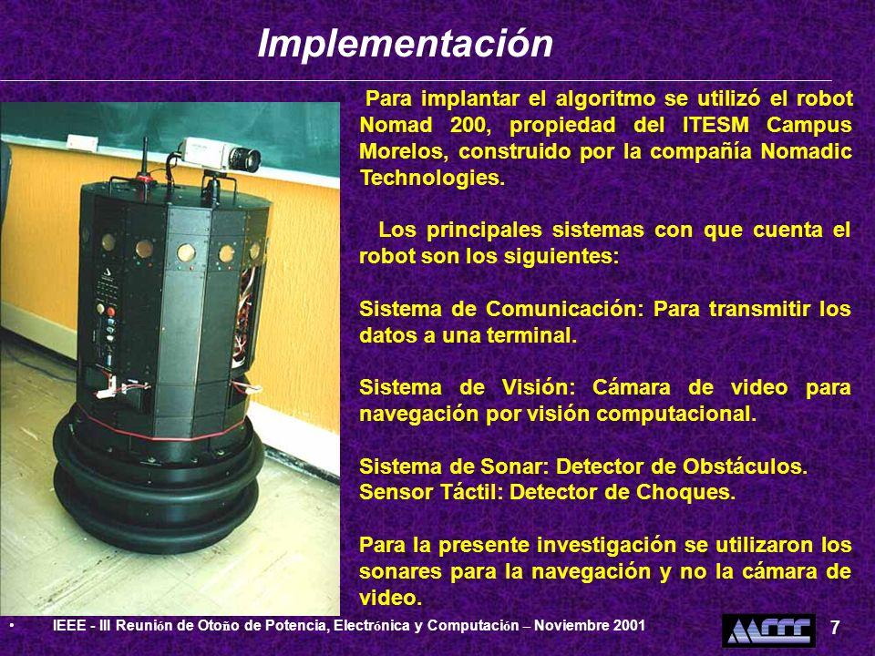 Implementación IEEE - III Reunión de Otoño de Potencia, Electrónica y Computación – Noviembre 2001.