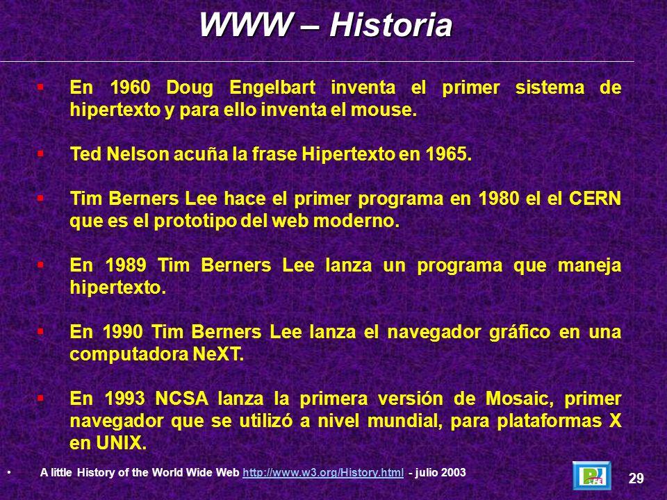 WWW – Historia En 1960 Doug Engelbart inventa el primer sistema de hipertexto y para ello inventa el mouse.