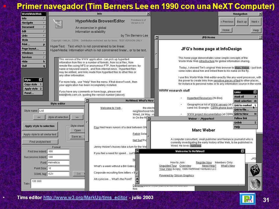 Primer navegador (Tim Berners Lee en 1990 con una NeXT Computer)