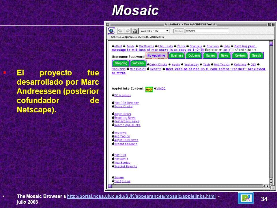 Mosaic El proyecto fue desarrollado por Marc Andreessen (posterior cofundador de Netscape).