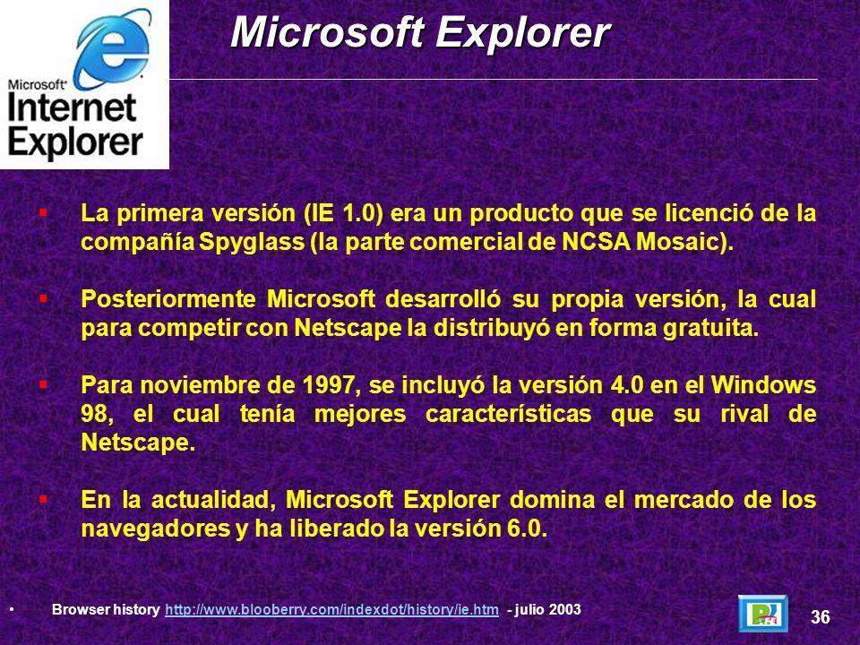 Microsoft ExplorerLa primera versión (IE 1.0) era un producto que se licenció de la compañía Spyglass (la parte comercial de NCSA Mosaic).