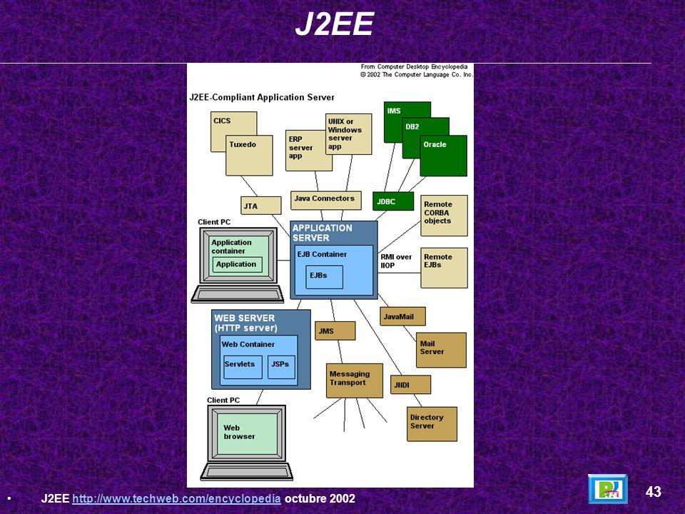 J2EE 43 J2EE http://www.techweb.com/encyclopedia octubre 2002