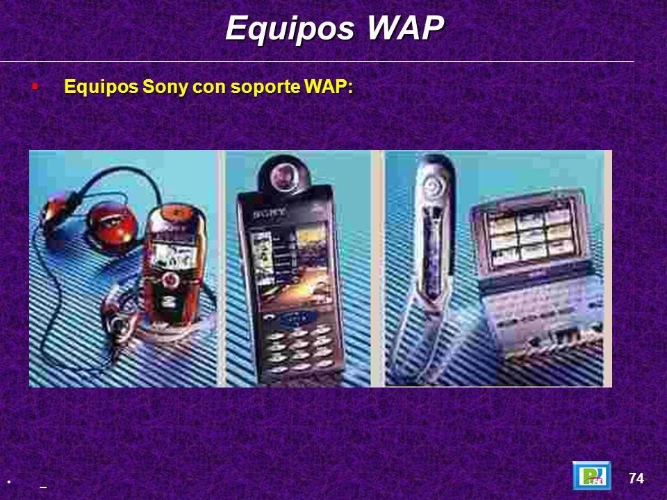 Equipos WAP Equipos Sony con soporte WAP: 74 _