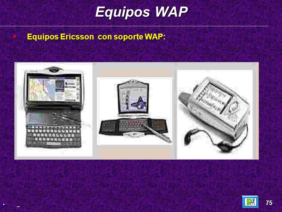 Equipos WAP Equipos Ericsson con soporte WAP: 75 _