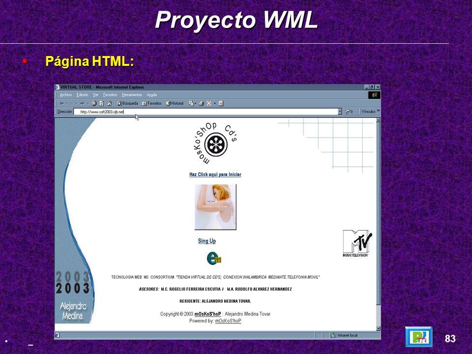 Proyecto WML Página HTML: 83 _