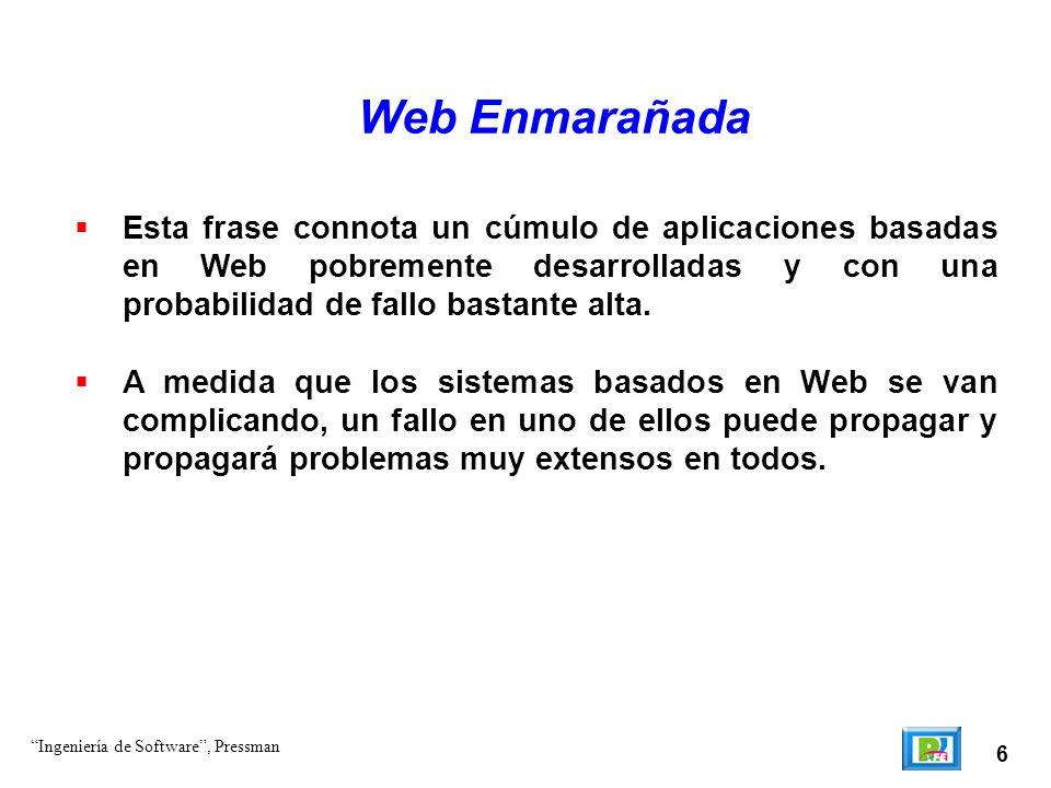 Web Enmarañada Esta frase connota un cúmulo de aplicaciones basadas en Web pobremente desarrolladas y con una probabilidad de fallo bastante alta.