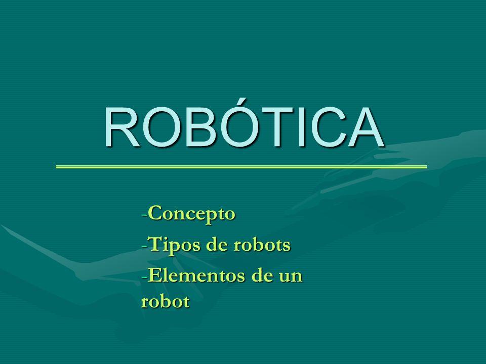 Concepto Tipos de robots Elementos de un robot