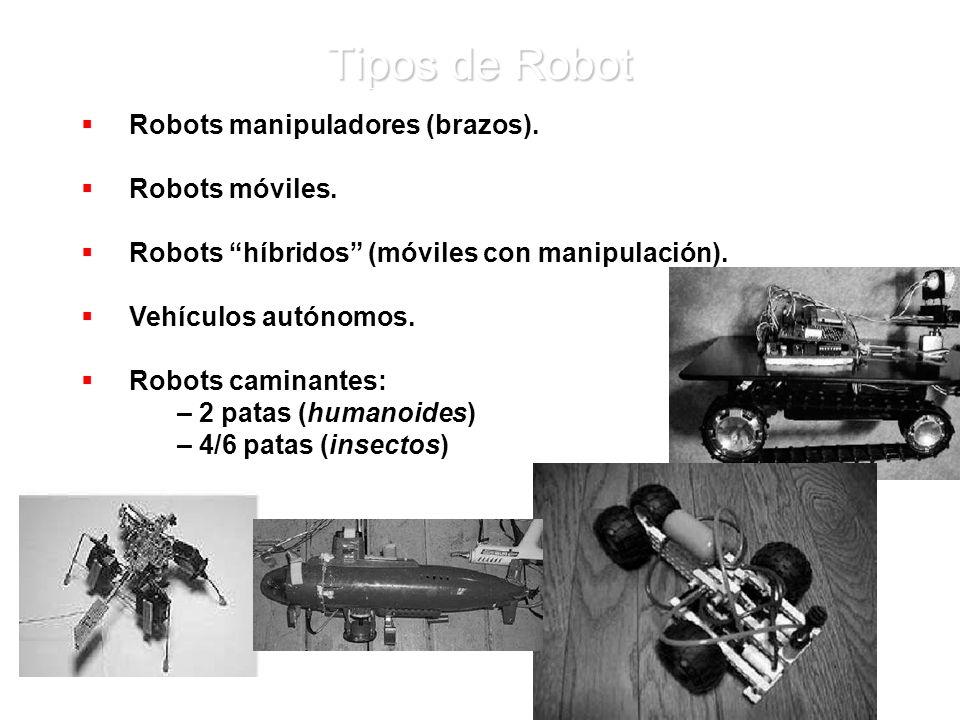 Tipos de Robot Robots manipuladores (brazos). Robots móviles.