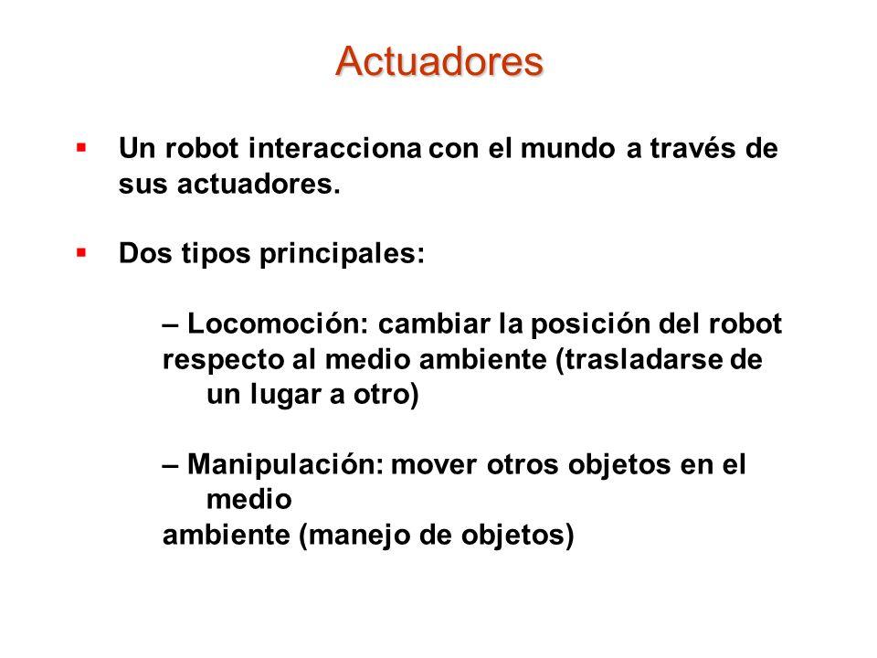 Actuadores Un robot interacciona con el mundo a través de sus actuadores. Dos tipos principales: – Locomoción: cambiar la posición del robot.