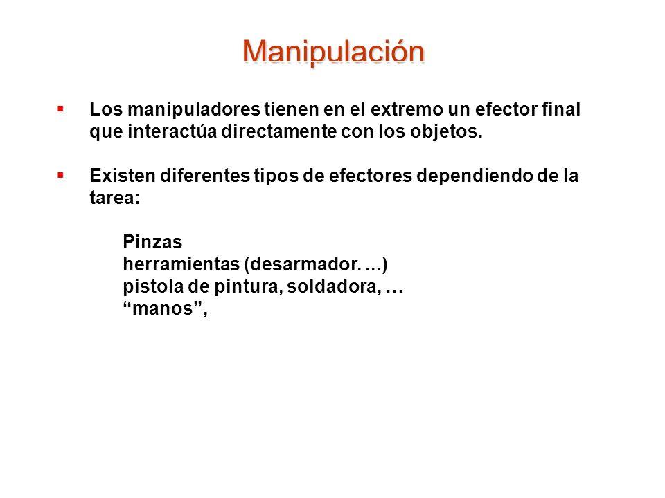 Manipulación Los manipuladores tienen en el extremo un efector final que interactúa directamente con los objetos.