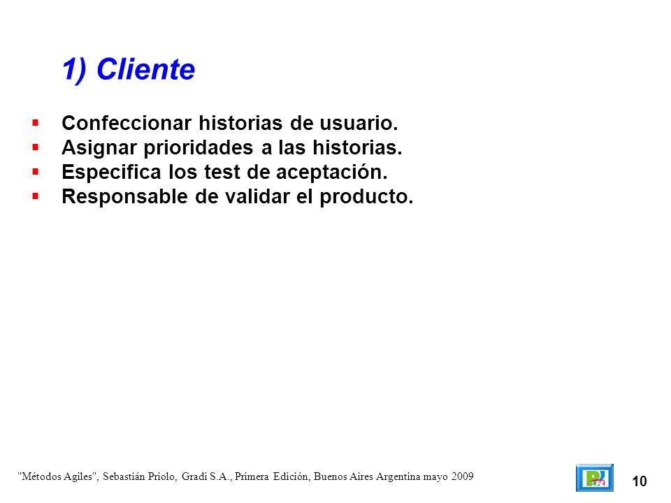1) Cliente Confeccionar historias de usuario.