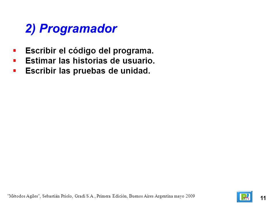 2) Programador Escribir el código del programa.
