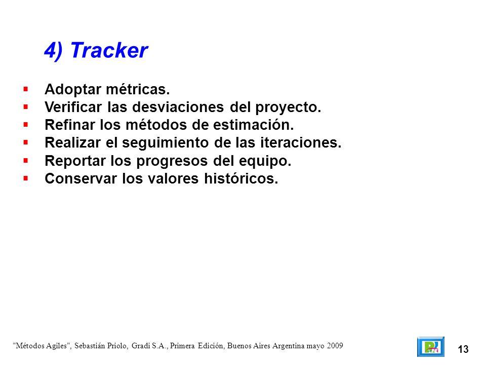 4) Tracker Adoptar métricas. Verificar las desviaciones del proyecto.