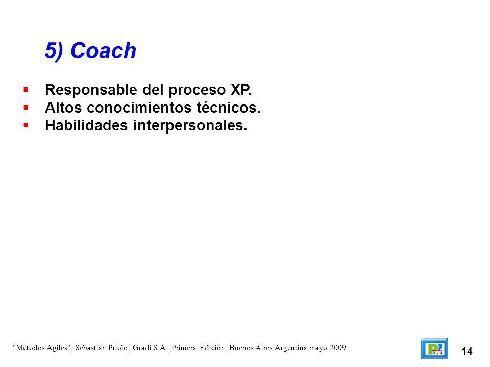 5) Coach Responsable del proceso XP. Altos conocimientos técnicos.
