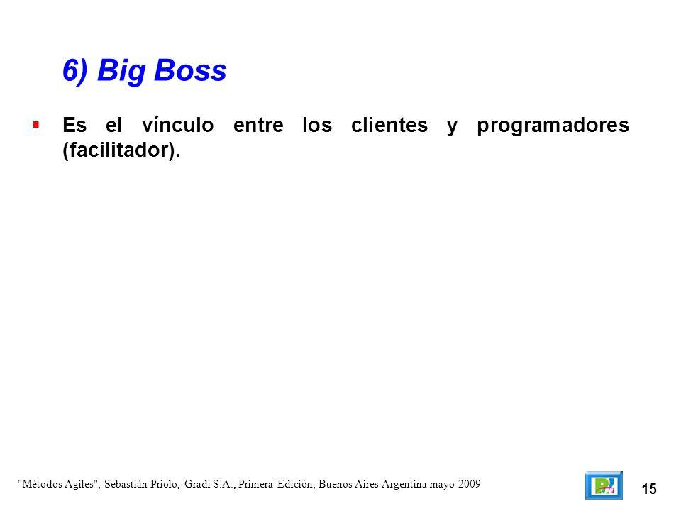 6) Big BossEs el vínculo entre los clientes y programadores (facilitador).
