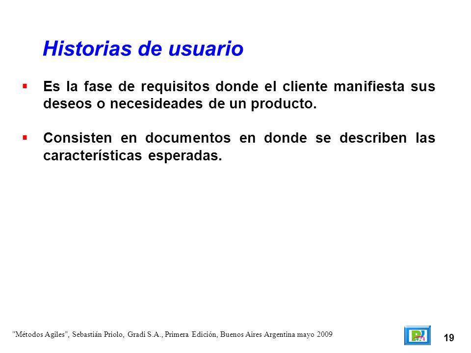 Historias de usuario Es la fase de requisitos donde el cliente manifiesta sus deseos o necesideades de un producto.