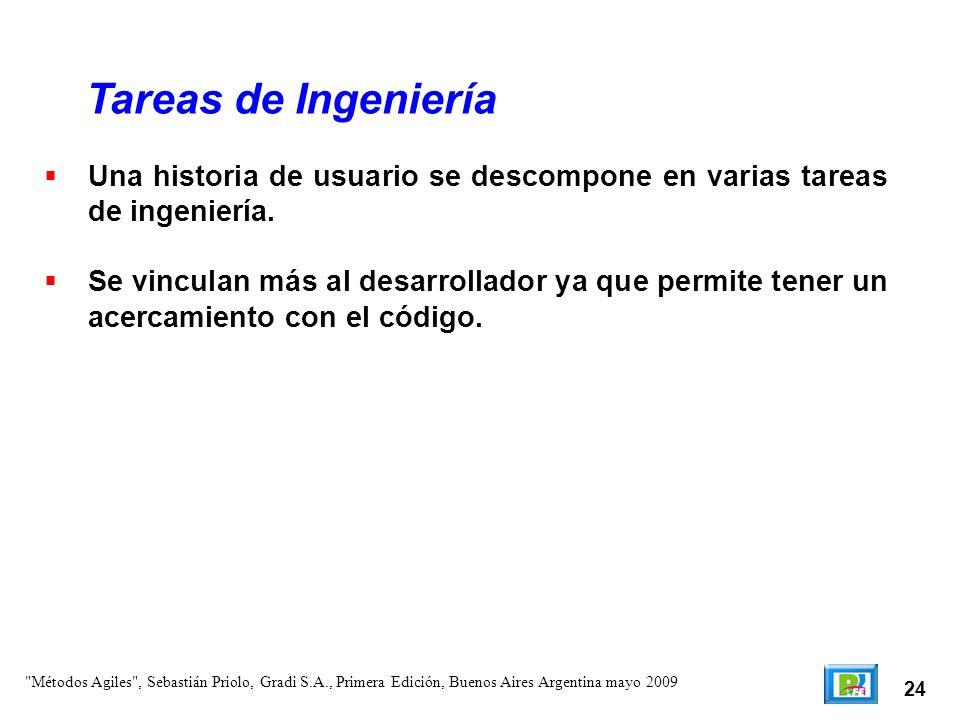Tareas de Ingeniería Una historia de usuario se descompone en varias tareas de ingeniería.