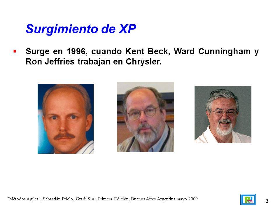 Surgimiento de XP Surge en 1996, cuando Kent Beck, Ward Cunningham y Ron Jeffries trabajan en Chrysler.