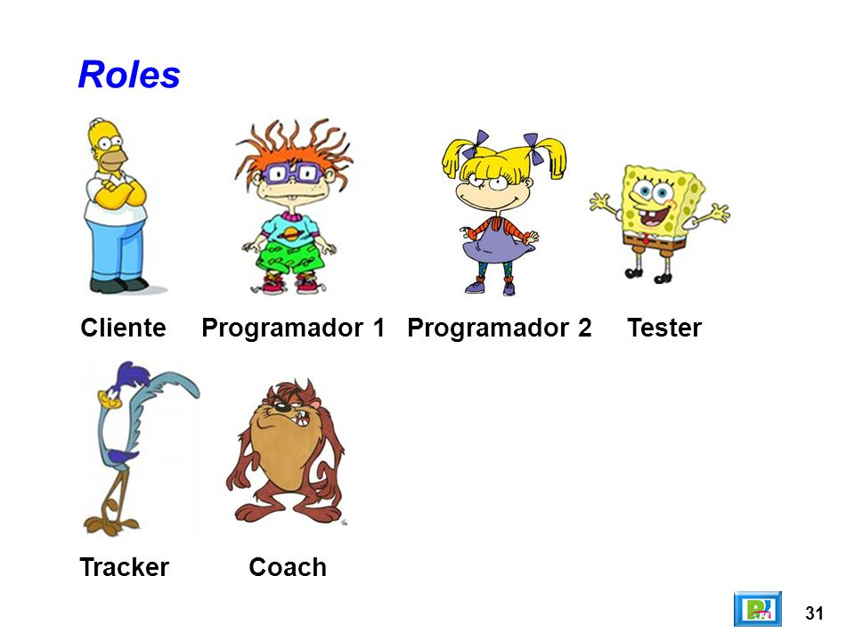 Roles Cliente Programador 1 Programador 2 Tester Tracker Coach 31