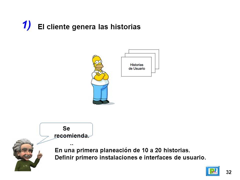 1) El cliente genera las historias Se recomienda...
