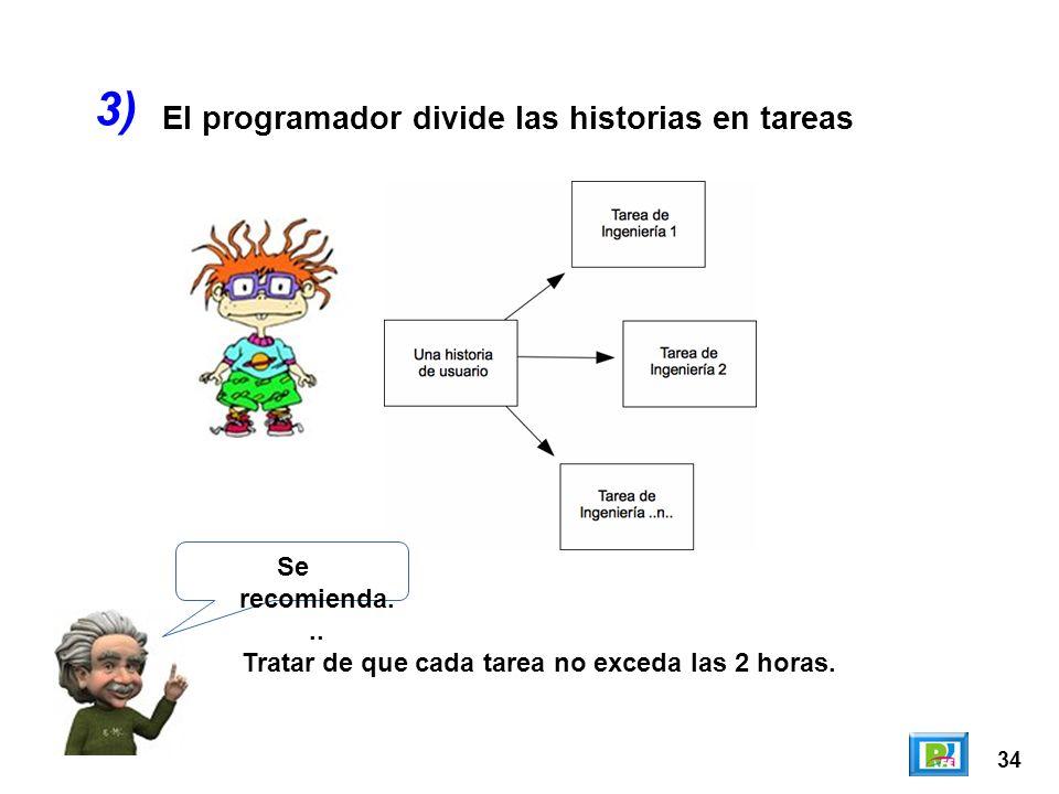 3) El programador divide las historias en tareas Se recomienda...
